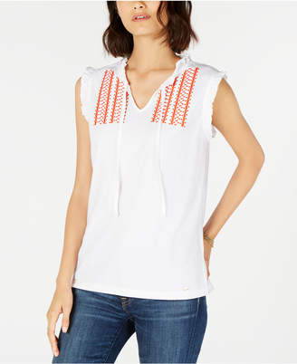 Tommy Hilfiger Embroidered Tie-Neck Tank Top