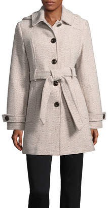 Liz Claiborne Woven Belted Heavyweight Overcoat Tall