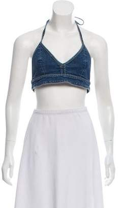 GRLFRND Chambray Halter Crop Top w/ Tags