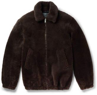 Givenchy Logo-Print Shearling Jacket - Men - Brown
