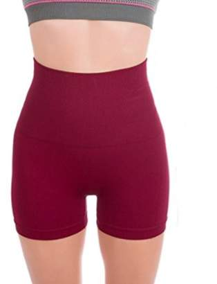 Lifeshop Breathable & Stretchy High Waist Tummy Control Workout Yoga Shorts For Women - LARGE BURGUNDY