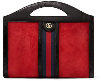 Gucci Ophidia Medium Patent Leather-trimmed Suede Tote - Red