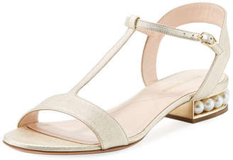 Nicholas Kirkwood Casati Metallic Leather T-Bar Sandal