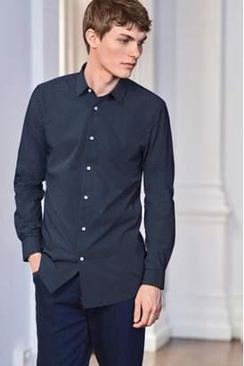 Mens Navy Regular Fit Single Cuff Polka Dot Shirt