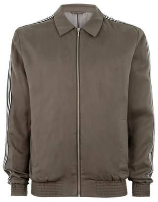 Topman Mens Khaki Tencel Zip Through Jacket With Side Taping Detail
