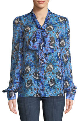 Diane von Furstenberg Lanie Floral Button-Front Tie-Neck Blouse