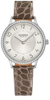 Hermes Watches Slim D'Hermes PM Diamond, Stainless Steel& Alligator Strap Watch