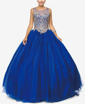 Dancing Queen Juniors' Embellished Applique Gown