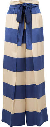 Petar Petrov Striped Silk-satin Wide-leg Pants - Royal blue