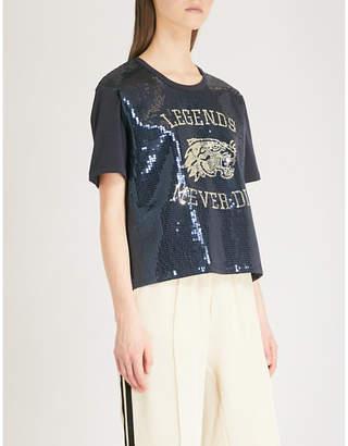 The Kooples Sequin-embellished cotton T-shirt