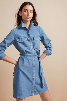 French Connenction Avery Denim Belted Shirt Dress