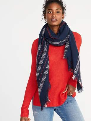 Old Navy Fringed Textured-Stripe Scarf for Women