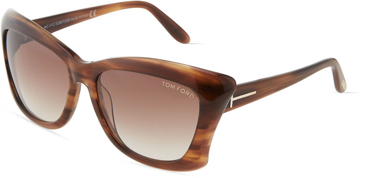Tom Ford Lana Stripped-Acetate Butterfly Sunglasses, Brown