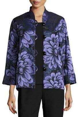 Caroline Rose Flower Show Boxy Jacket, Blue/Purple, Plus Size $315 thestylecure.com
