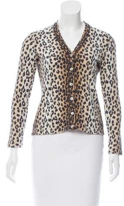 Blumarine Wool-Blend Leopard Print Cardigan