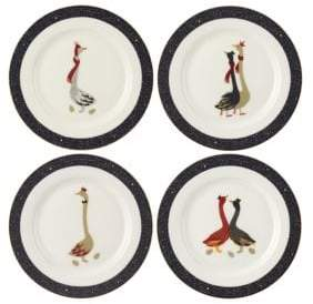 Portmeirion Geese 22K Gold and Porcelain Four-Piece Cake Plate Set