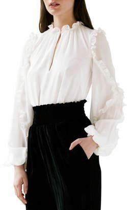 ML Monique Lhuillier Long-Sleeve Ruffle Keyhole Blouse