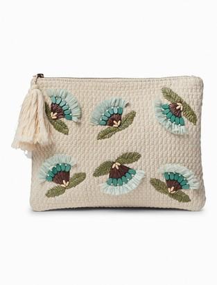 Lucky Brand Raffia Flower Zip Top Pouch