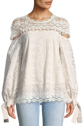 Jonathan Simkhai Diamond Lace Blouson-Sleeve Blouse