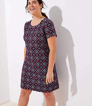 LOFT Plus Medallion Jacquard Shoulder Button Dress
