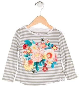 Stella McCartney Girls' Stripe Floral Print Top