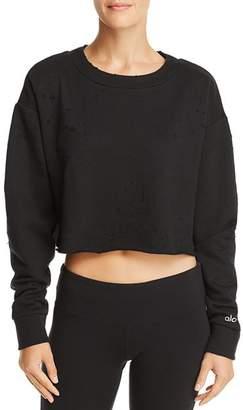 Alo Yoga Distressed Cropped Sweatshirt