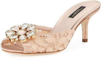 Dolce & Gabbana Keria Jeweled Lace Low-Heel Slide Sandals, Light Pink