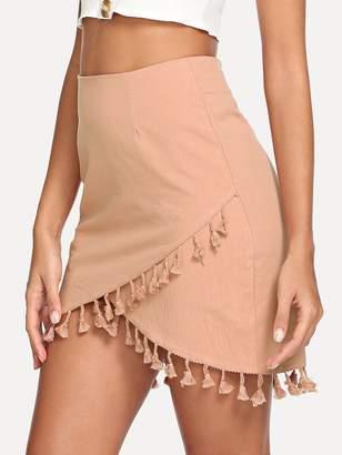 Shein Wrap Tassel Detail Bodycon Skirt