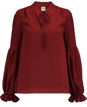 Haute Hippie Bow-Detailed Satin-Crepe Blouse