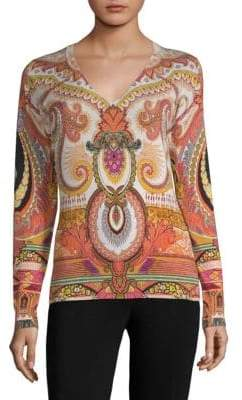 Etro 50th Anniversary Printed V-Neck Sweater