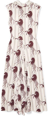 Chloé Tie-detail Printed Piqué Midi Dress - White