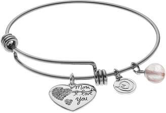 "Love This Life love this life Crystal & Pink Quartz ""Mom"" Heart Charm Bangle Bracelet"
