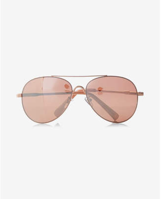 Express mirrored gold metal frame aviator sunglasses
