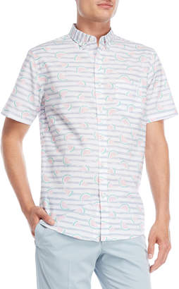 N. Oxford Lads Stripe Watermelon Short Sleeve Shirt