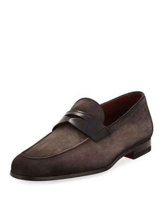 Magnanni Soft Suede Flat Penny Loafer, Gray
