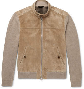 Tom Ford Suede-Panelled Cashmere and Linen-Blend Jacket - Men - Beige