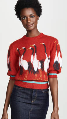 Stella Jean Short Sleeve Swan Sweater