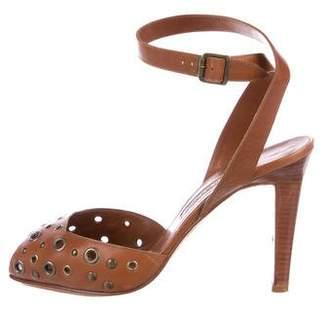 Manolo Blahnik Grommet Ankle Strap Sandals