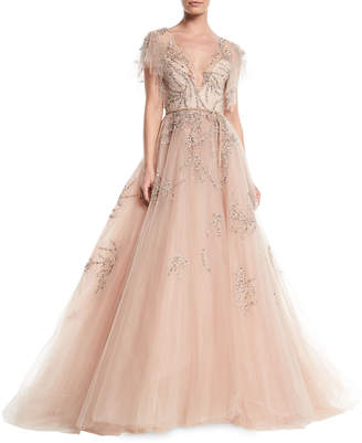 Monique Lhuillier Plunging Cap-Sleeve Embellished Tulle Evening Ball Gown