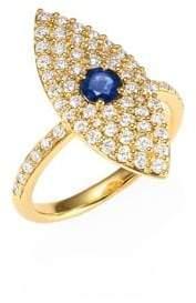 Anita Ko 18K Gold, Diamond& Sapphire Evil Eye Ring