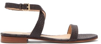 Emme Parsons Siena Crocodile Effect Leather Sandals - Womens - Dark Brown