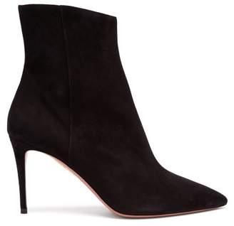 Aquazzura Alma 85 Suede Boots - Womens - Black