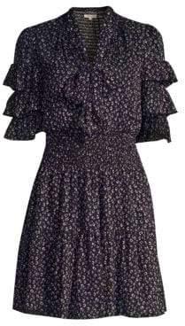 Rebecca Taylor Women's Abstract Polka Dot Ruffle Sleeve Mini Dress - Black Combo - Size 8