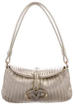 Valentino Metallic Leather Catch Shoulder Bag