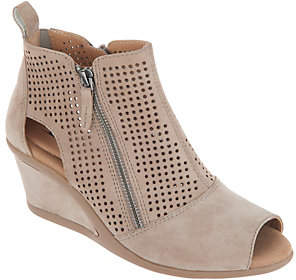 Earth Perforated Suede Side Zip Wedges - Cosmos