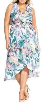 City Chic Plus Maxi Zaliki Sleeveless Fit-&-Flare Dress