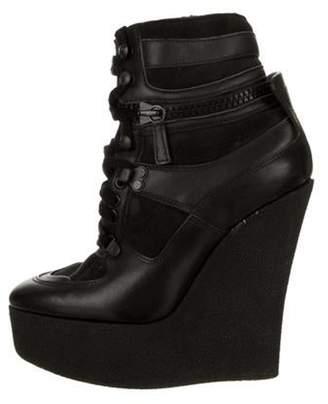 Burberry Leather Platform Wedge Boots Black Leather Platform Wedge Boots