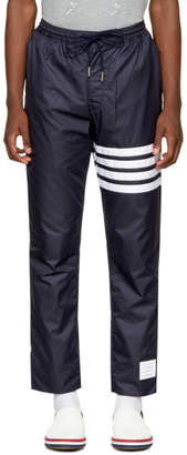 Thom Browne Navy Ripstop Four Bar Zip-Up Lounge Pants