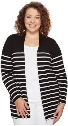 Vince Camuto Specialty Size Plus Size Long Sleeve Clipper Stripe Panel Cardigan Women's Sweater