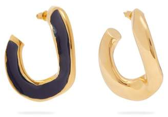 Open Hoop Enamel Earrings - Womens - Navy
